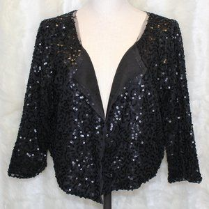 American Eagle Black Sequined Cropped Cardigan NWT
